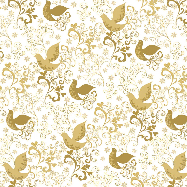 51775M-1 Gold Metallic Song Birds Holiday Village by Whistler Studio Windham