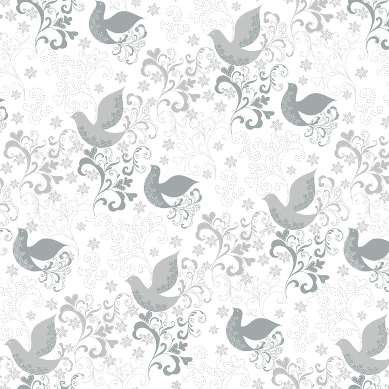 WF-Holiday Village 51775M-2 Silver - Song Birds w/Metallic