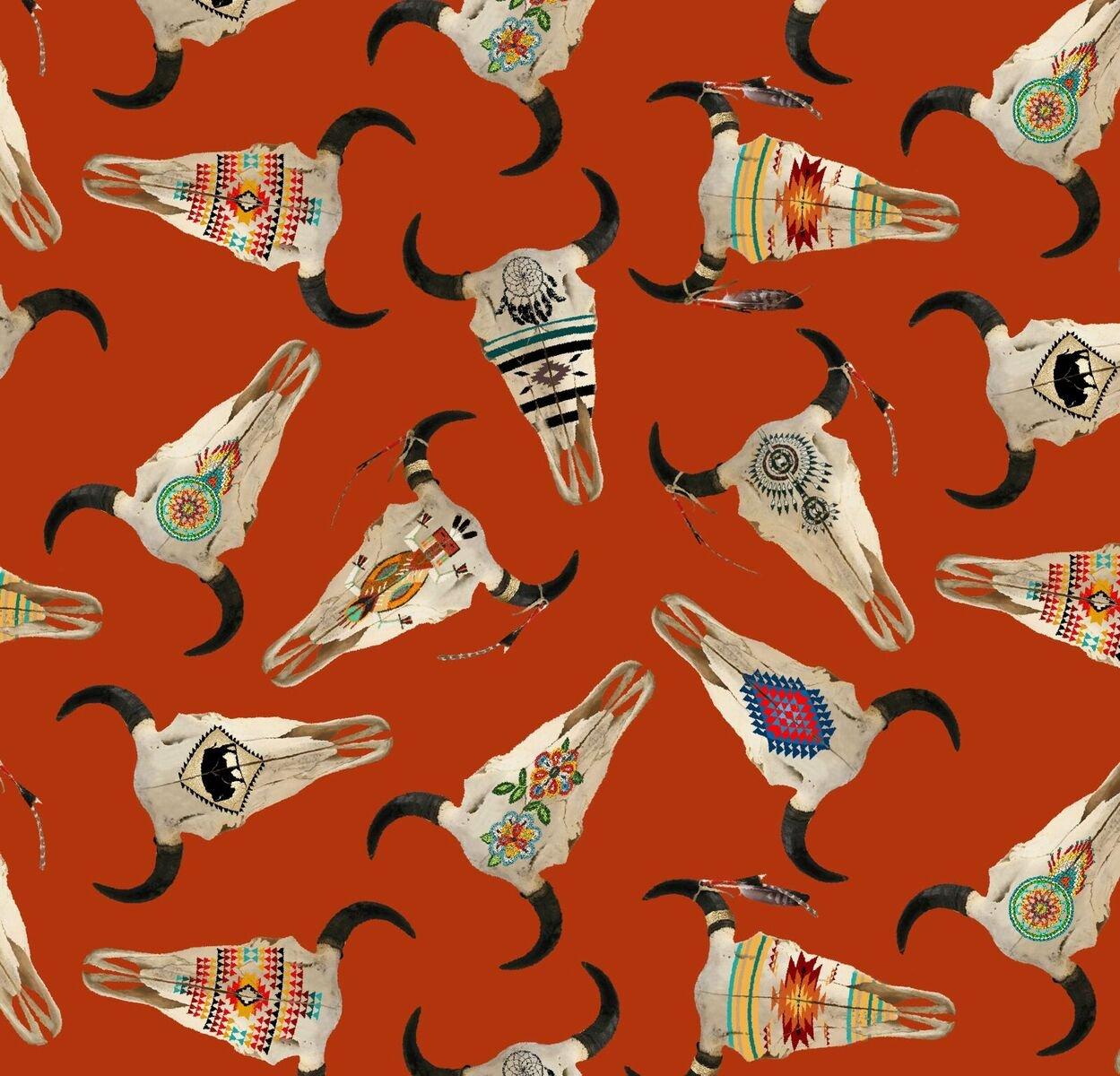 First Nations Prints - Buffalo Skulls in Terracotta