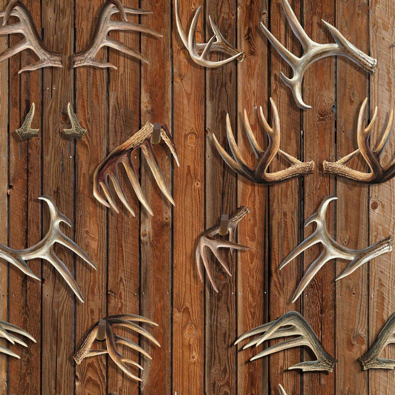 SPECIALTY FABRICS:  Antlers on Brown Wood Grain:  Antlers by Wild Wings for Springs Creative