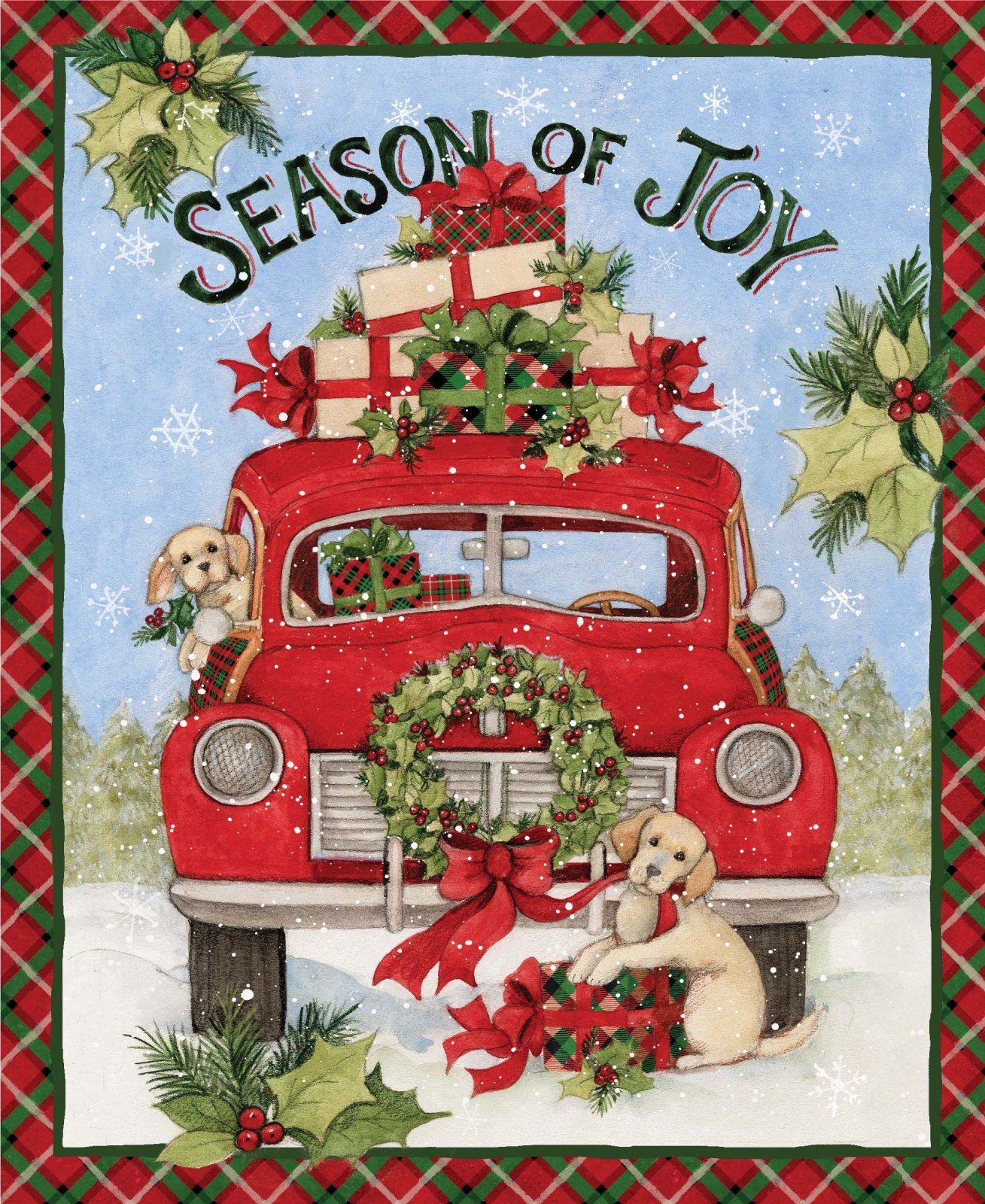 Spring Creative -Christmas Season of Joy Red Truck Panel