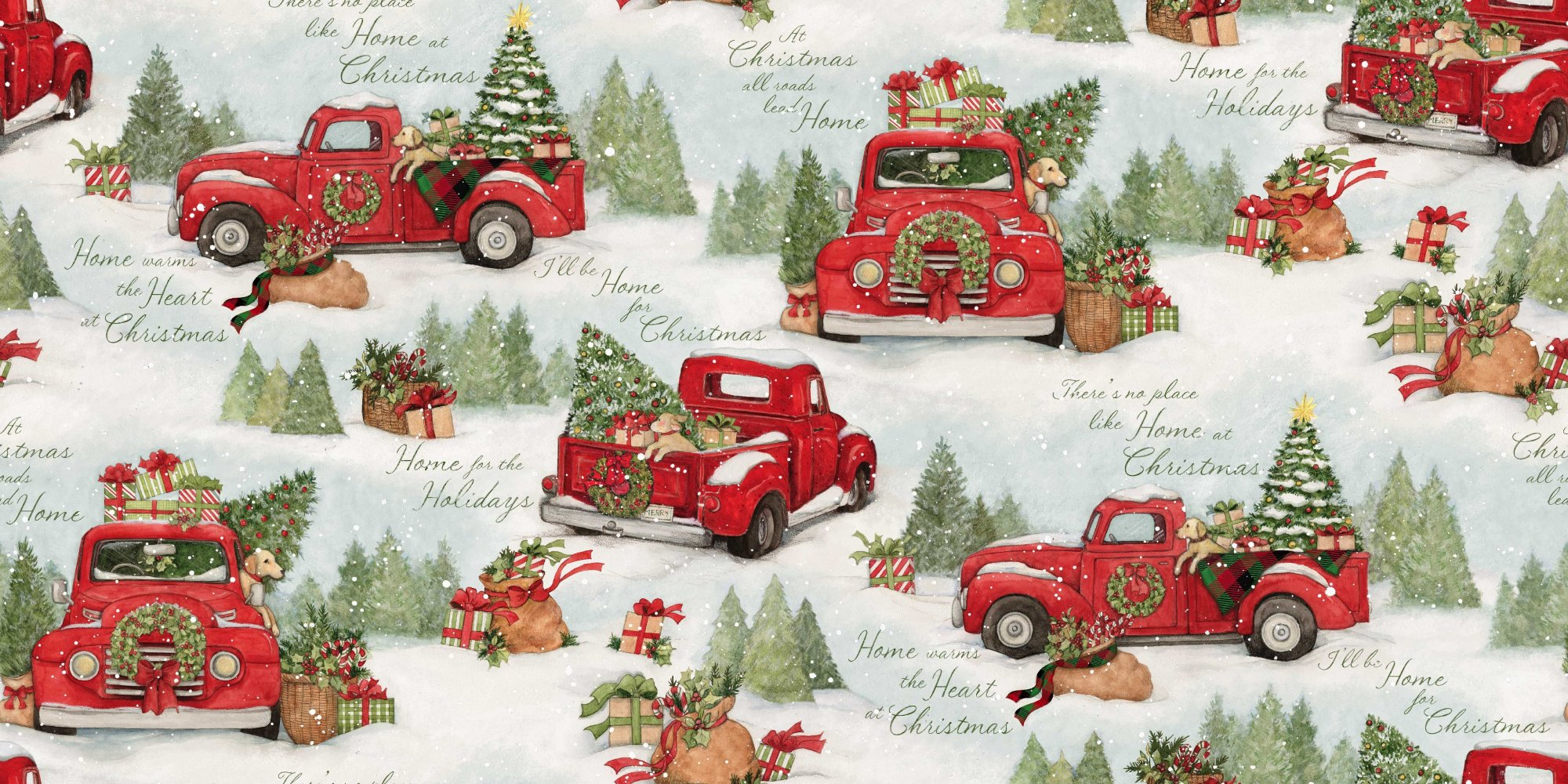 Home for Christmas Red Truck Scenic