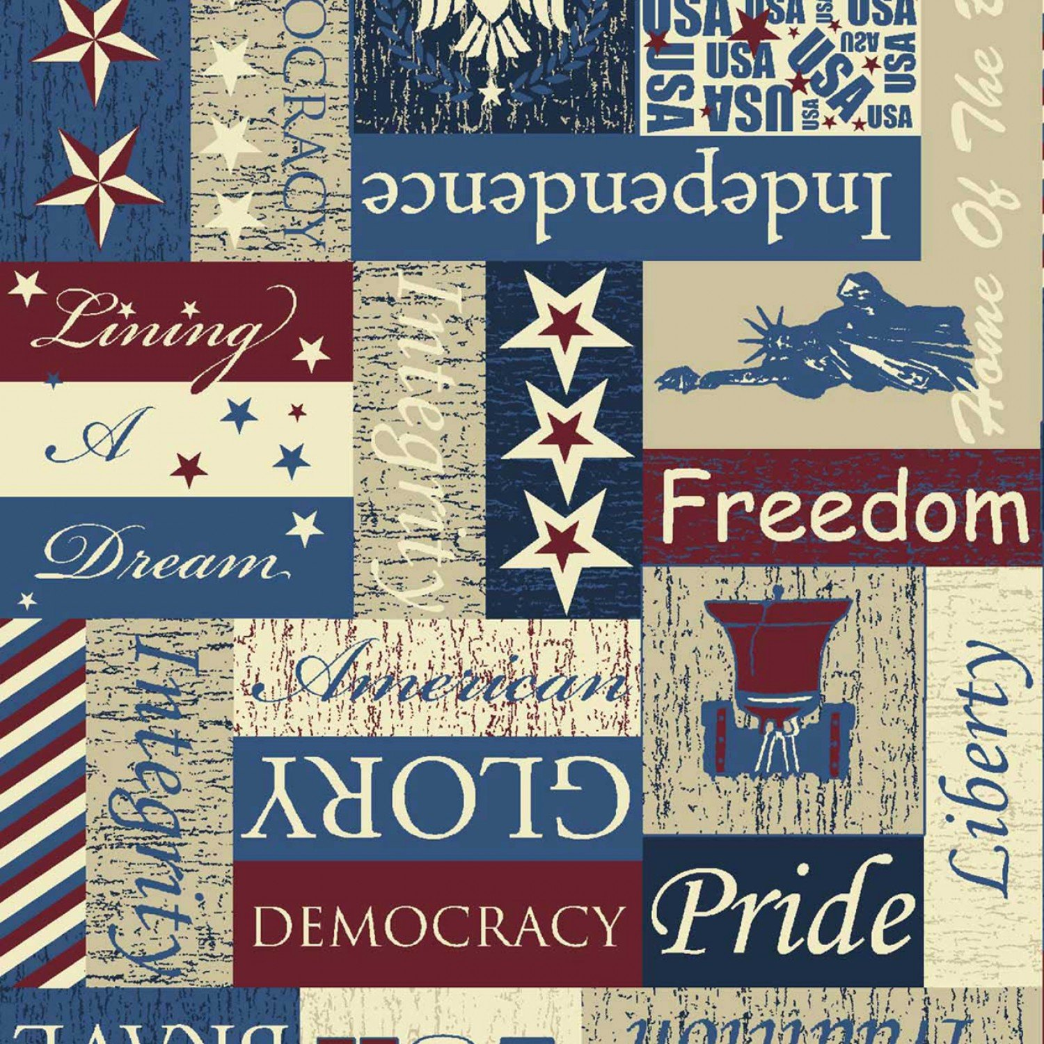 Patriotic Words and Liberty Bell and Statue of Liberty:  Pride of America by Springs Creative