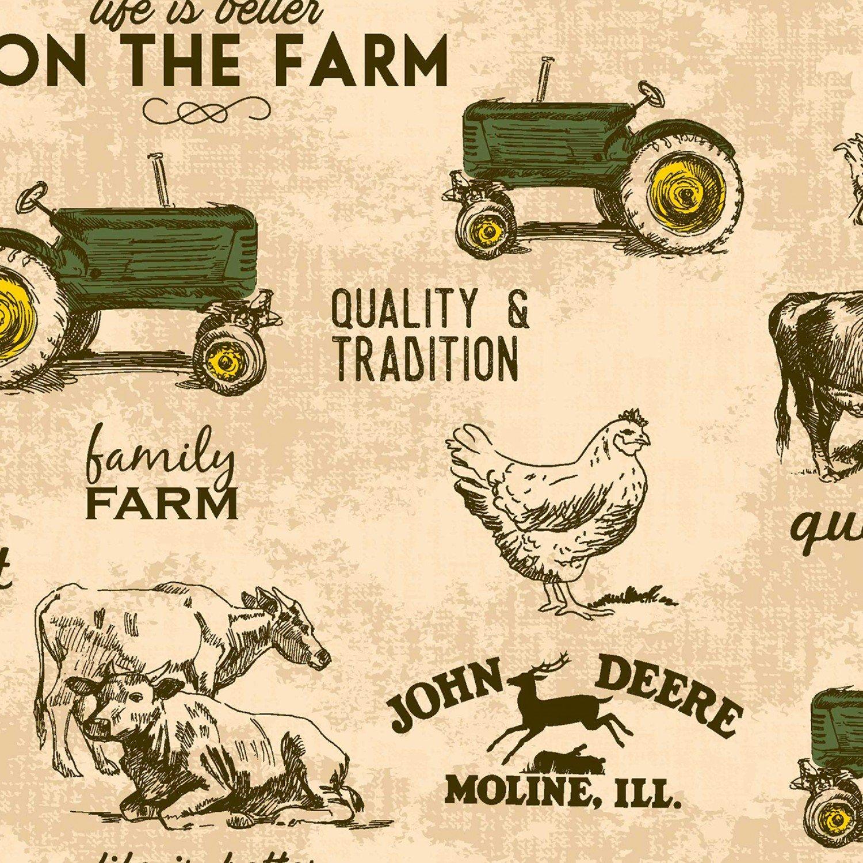 JOHN DEERE FARM MOTIFS TAN 124655