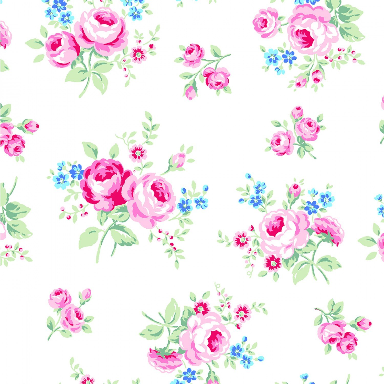 Lecien - Flower Sugar - Symbol of Love - White/Multi Tossed Floral