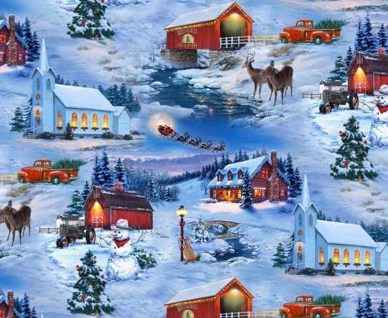 Country Christmas 8905 Snowy Scenic - Blue