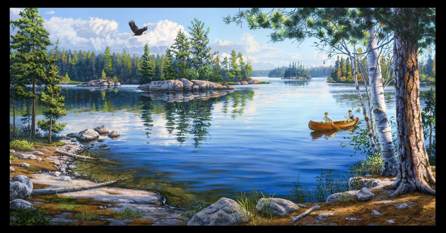 Blue Water Canoe Scene Panel 24 x 44