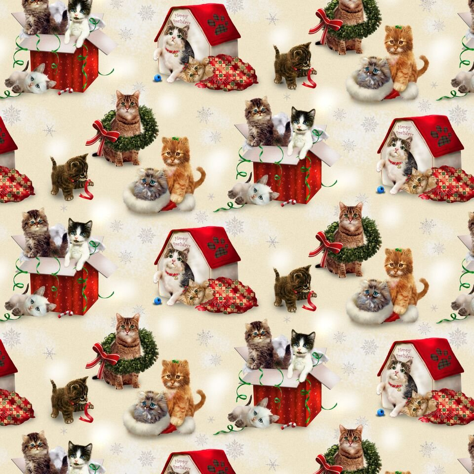 HG-Fireside Kittens 9059-40 Off White - Kittens Scenic