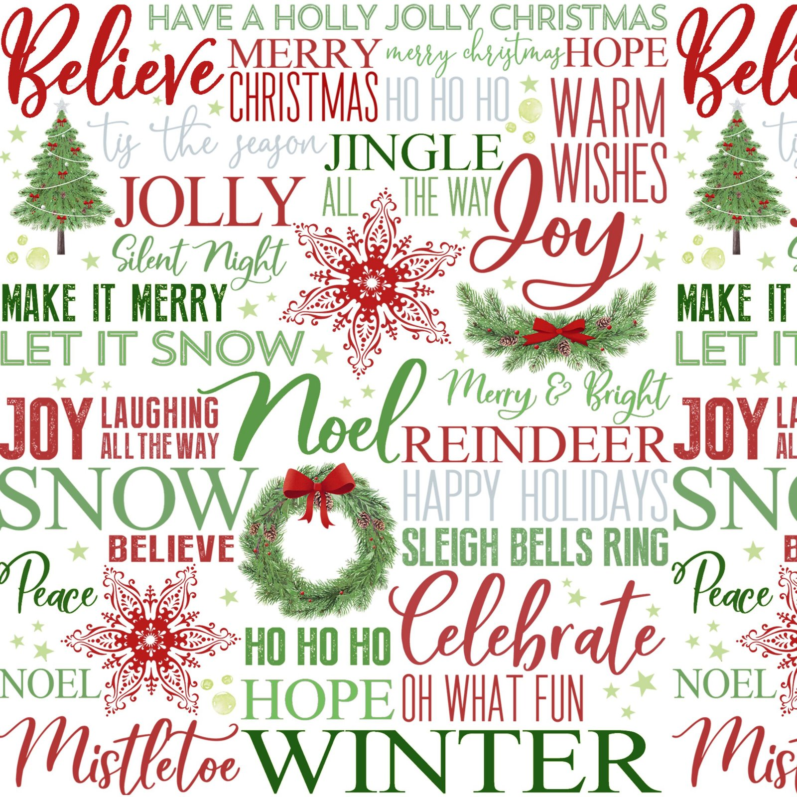 Holiday Words Multi on White Ground