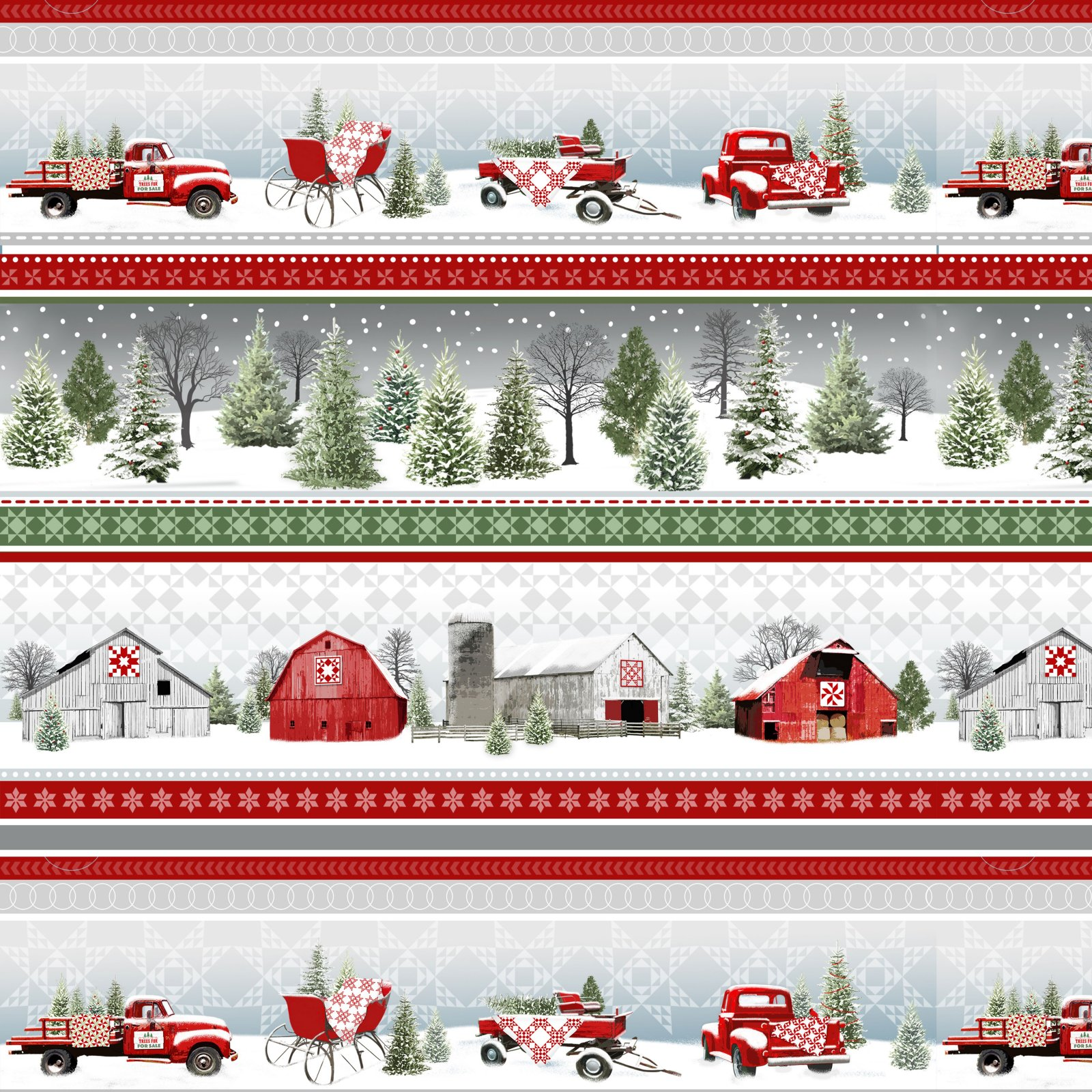 Novelty Stripe Truck and Sleds Grey/Red