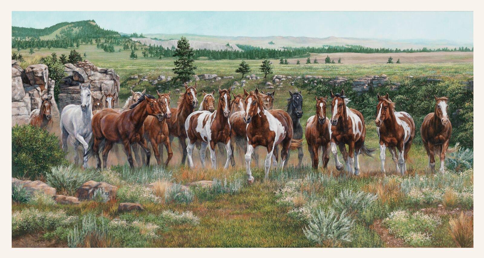 Elizabeth Studio Wild and Free 9900 Horse Panel '