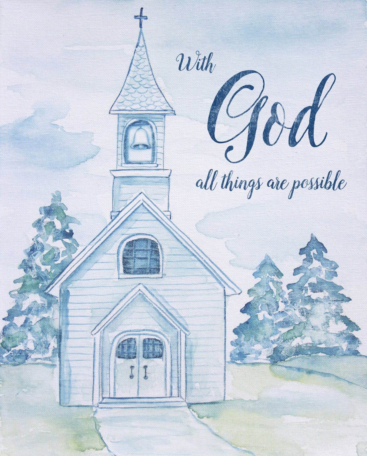With God all Things are Possible - Blue Quilt Panel with Church - by David Textiles