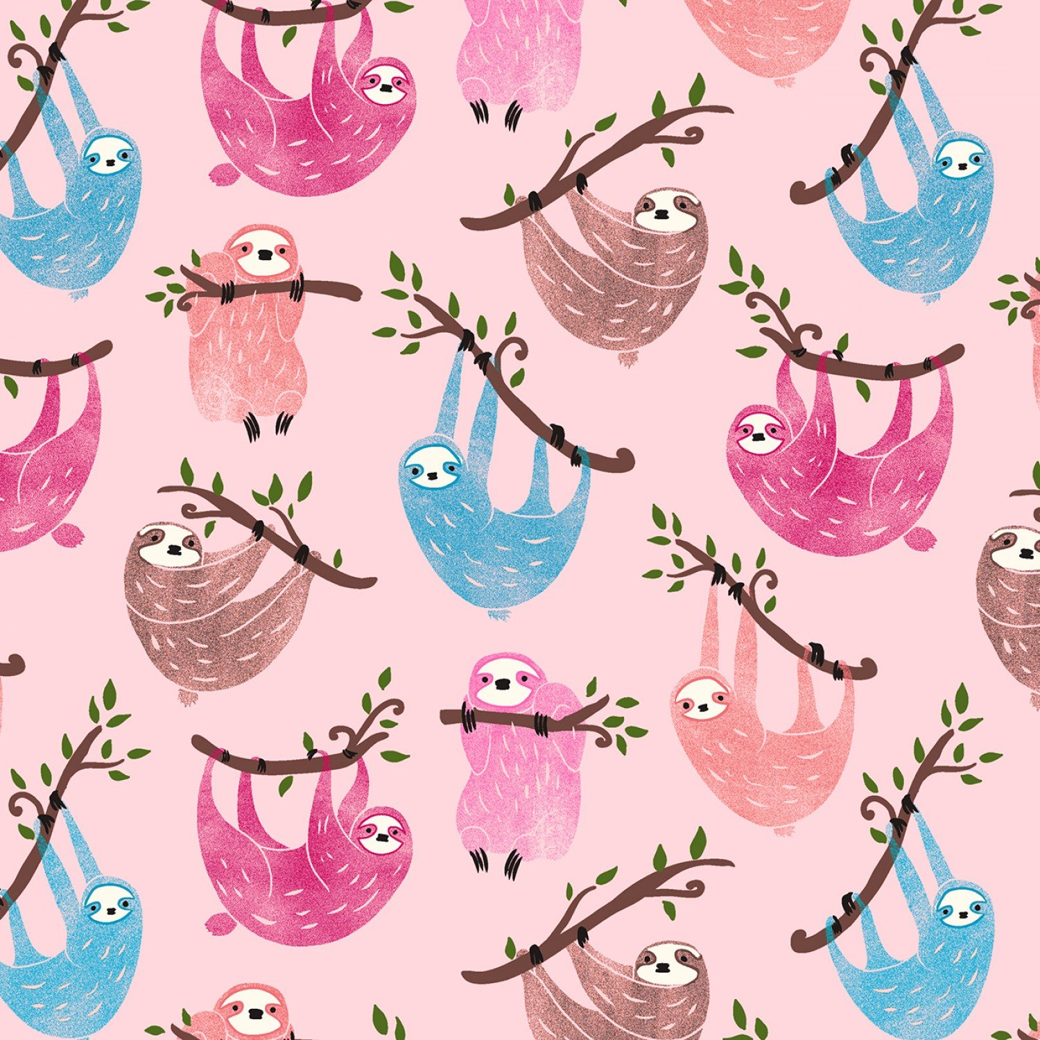 SPECIALTY FABRICS: Pink, Blue, and Brown Sloths Hanging From Tree Branches on Pink:  Fun by Timeless Treasures