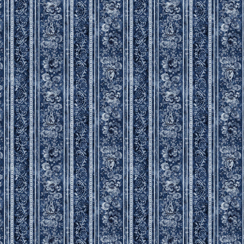 TT-JT C7424 Blue - Floral Border Stripe London Blues