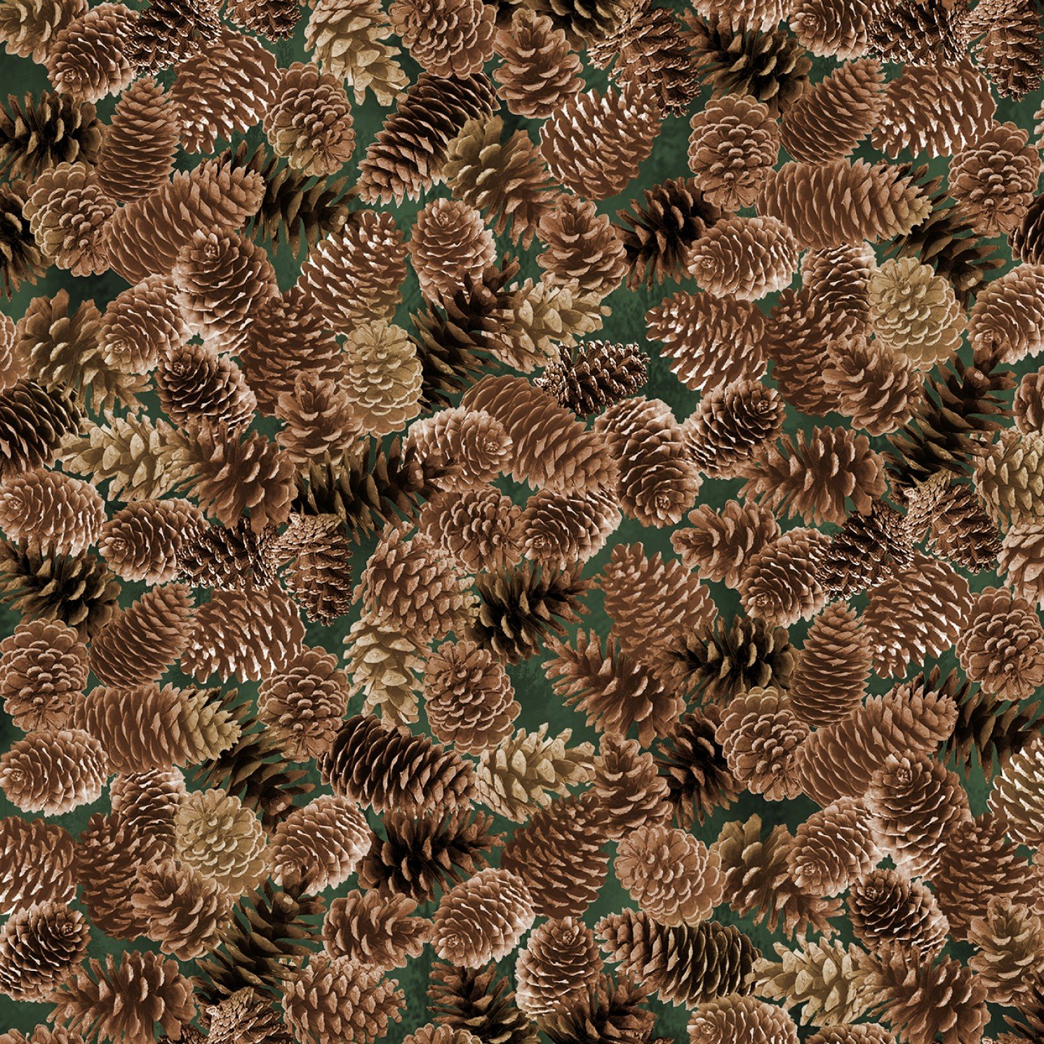 Timeless Treasures MOUNTAIN VISTA Nature C7466 Brown - Packed Pinecones
