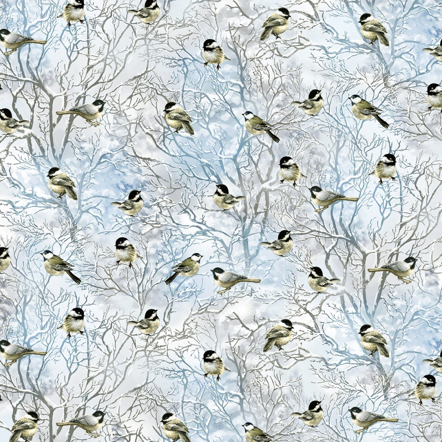 Timeless Treasures Dona C7595 Blue - Black-Capped Chickadee on Snowy Branches