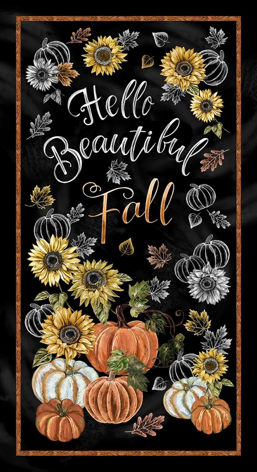 Timeless Treasures Panel C7795 Black - Hello Beautiful Fall Panel 24 inch