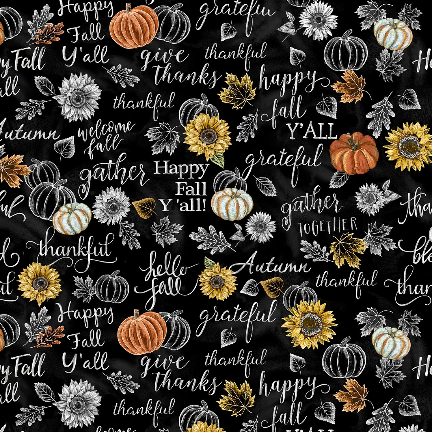 Timeless Treasures Harvest C7796 Black Chalkboard Welcome Fall
