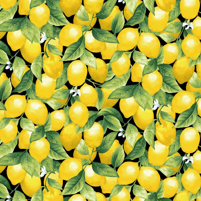 Timeless Treasures Splash of Lemon Lemons - Black (Min. order of 1 metyer)