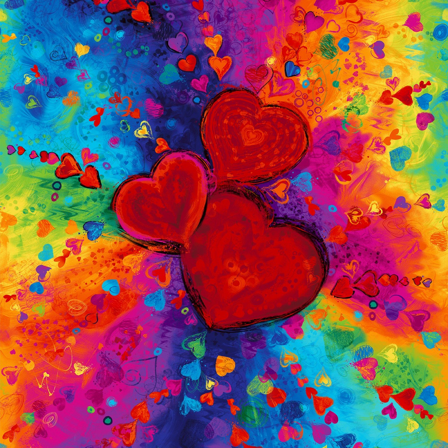 Full Heart Bright Panel 36in Digitally Printed CD6661-BRT