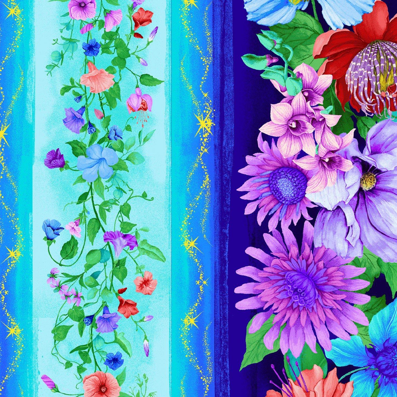 Timeless Treasure - Fantasy CD7237 Aqua Floral Stripe