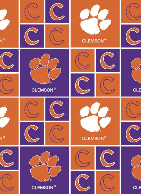 Licensed:  Clemson Tigers Boxes in Purple and Orange: NCAA College Cotton by Sykel Enterprises