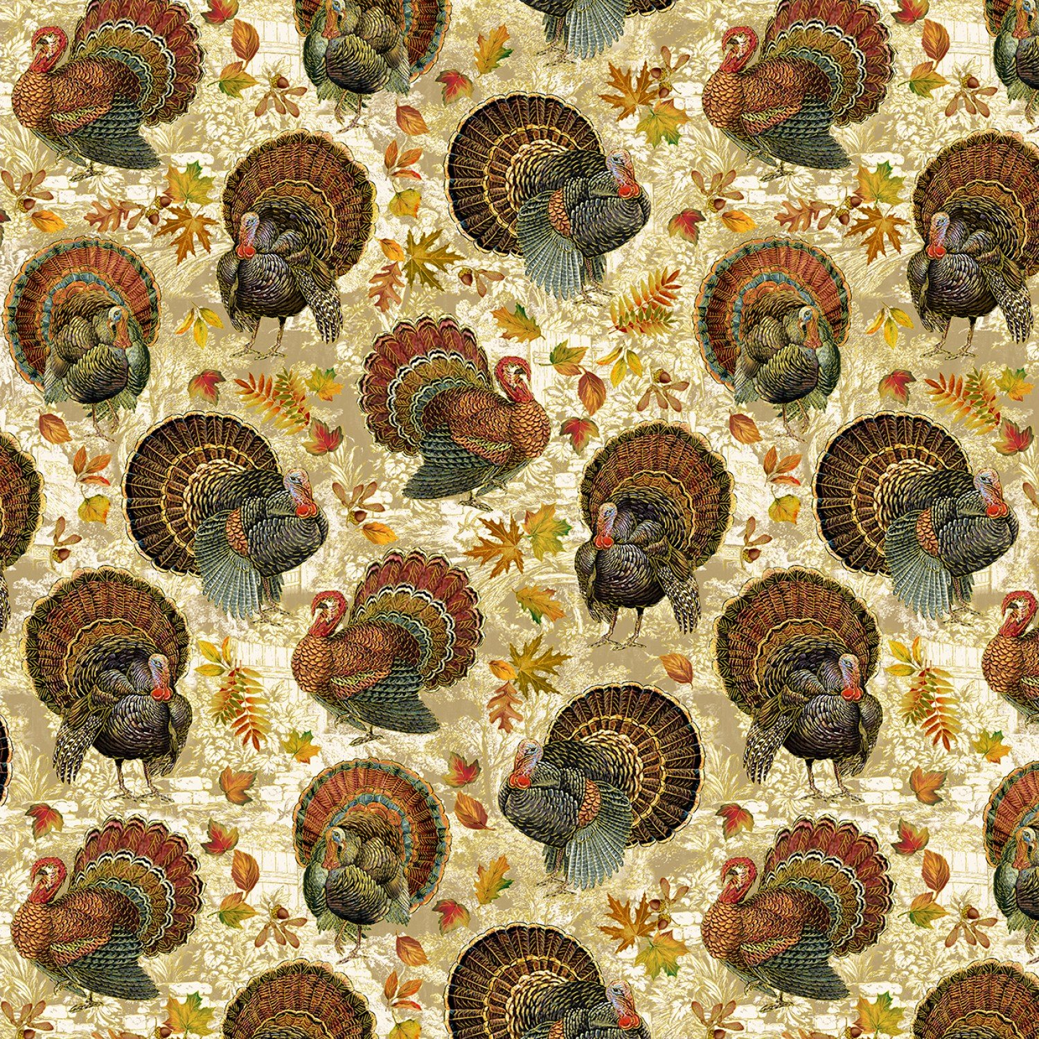 HARVEST-CM7658 MULTI Metallic Harvest Turkeys Gather Here Timeless Treasures