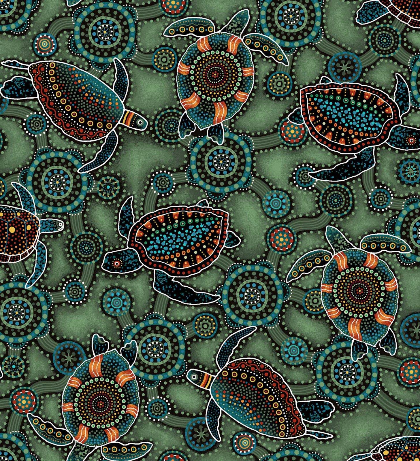 Down Under Aboriginal Sea Turtles - Green