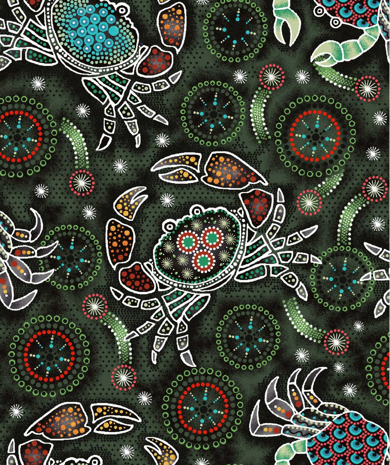 Down Under Aboriginal Crabs - Green
