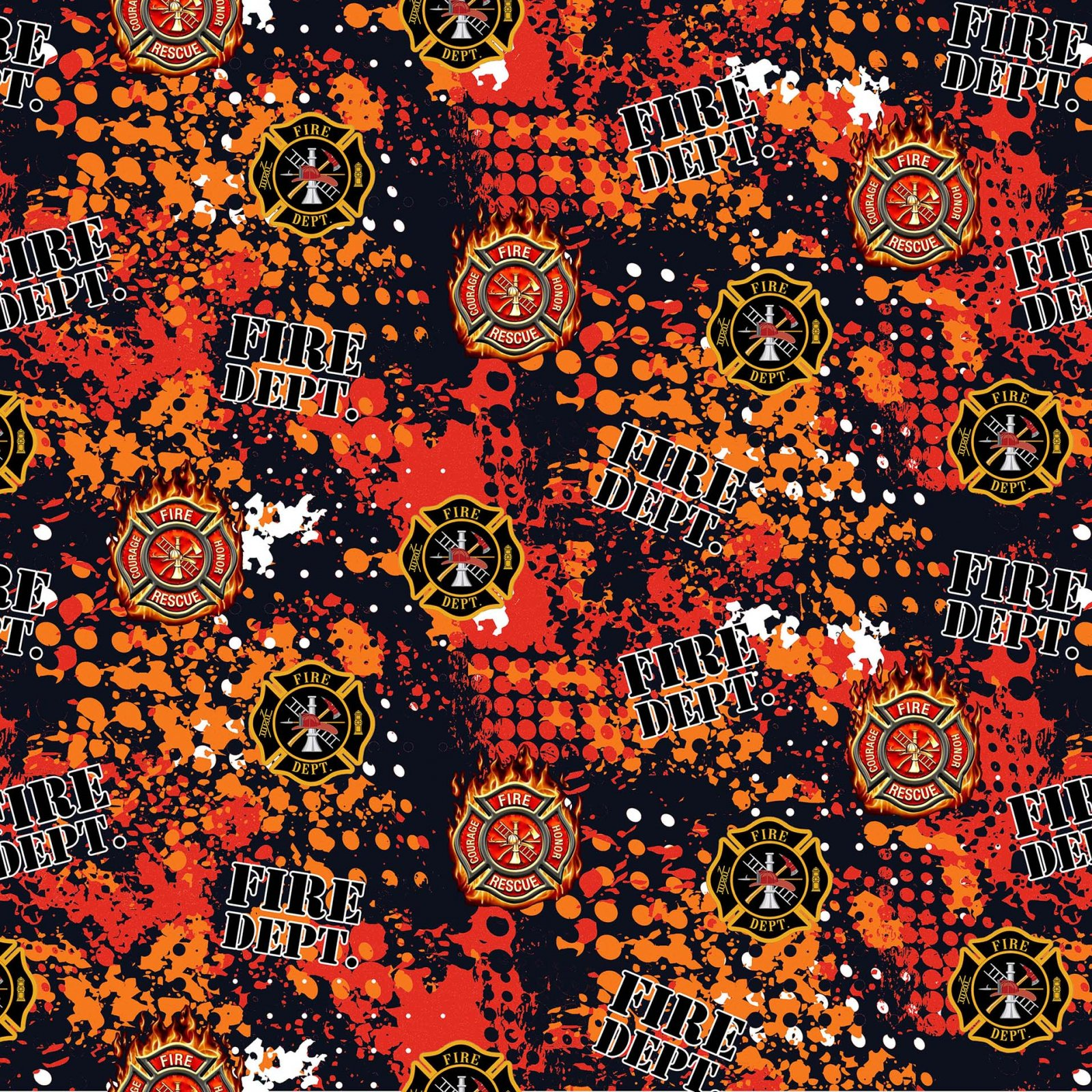 Firefighter Abstract Orange and Red Geo Logo on Black:  Fire Fighter by Sykel Enterprises