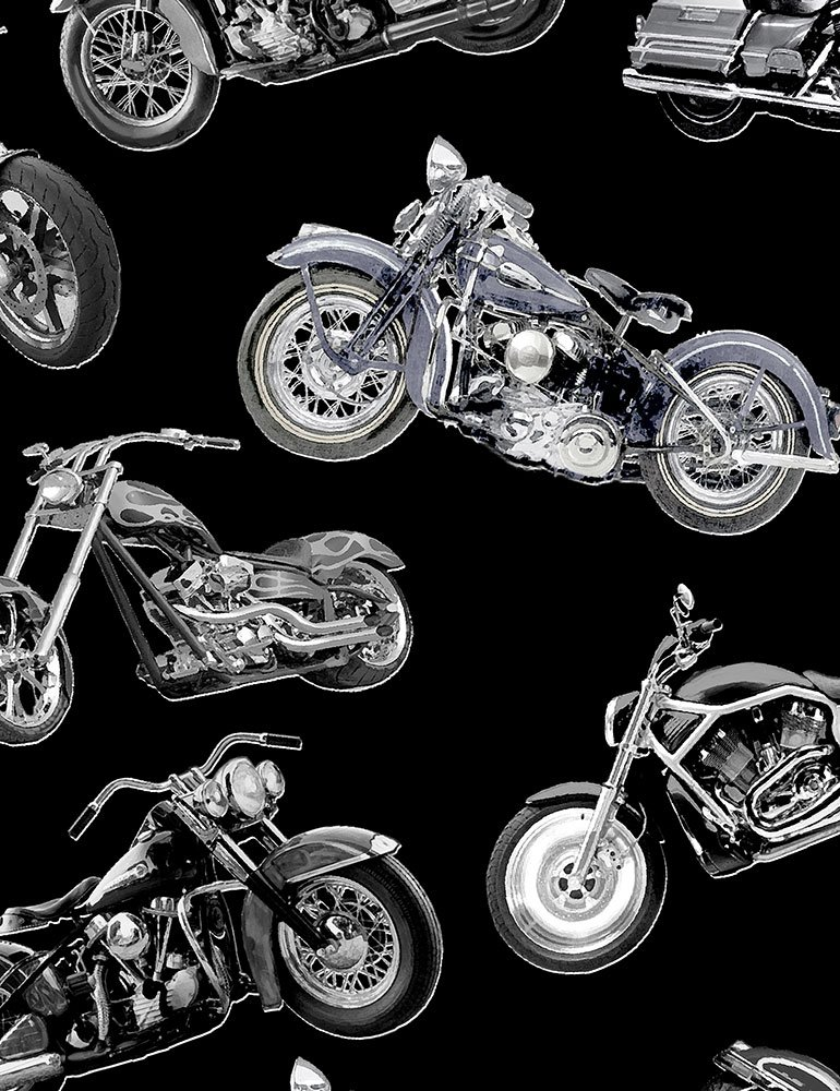 Timeless Treasure - Motorcycles - FUN-C7717 - Silver Choppers - Black