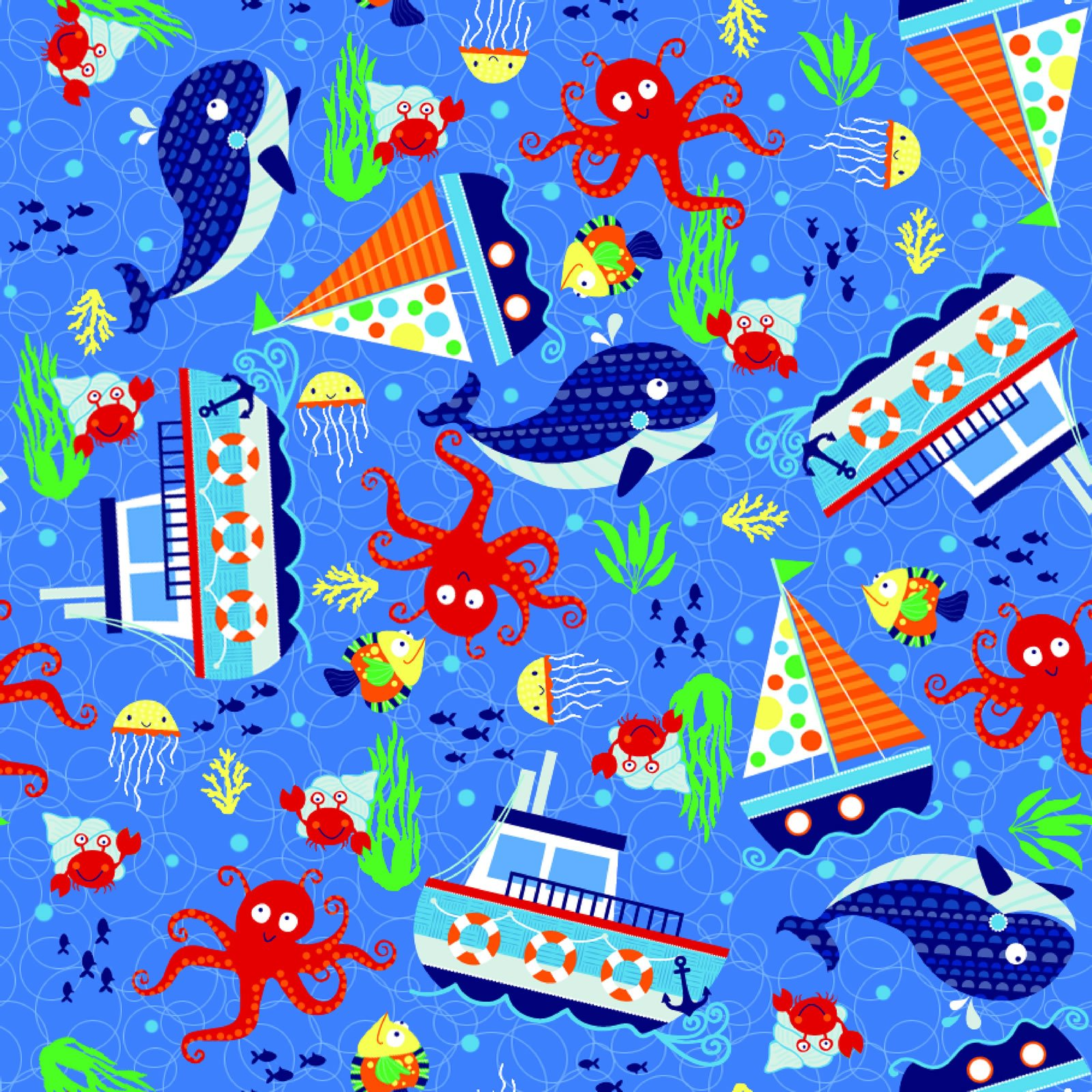 Sailing Blue Fun Flannel