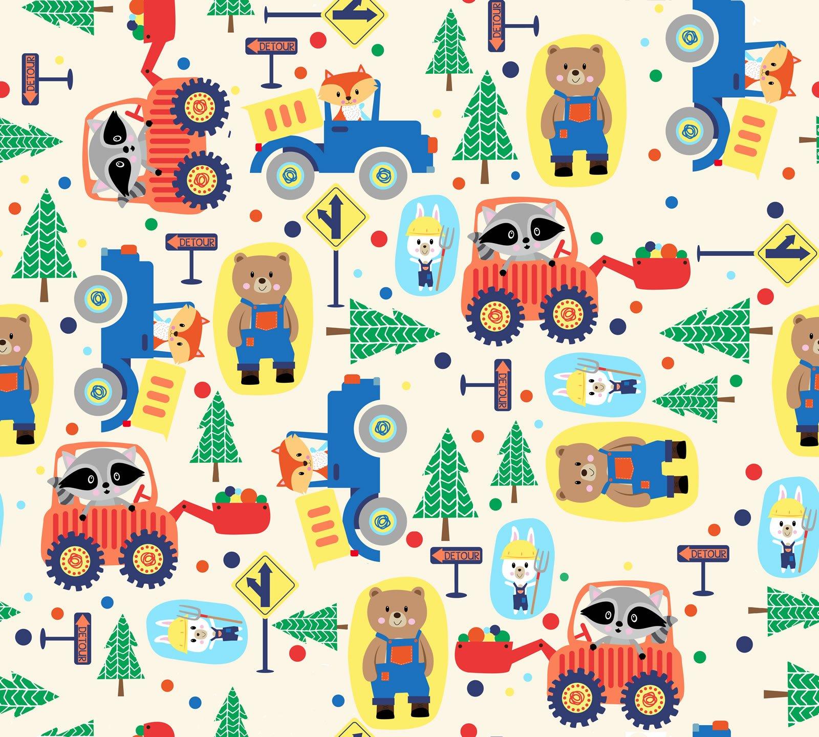 Fun Flannel Roadworkers Ecru