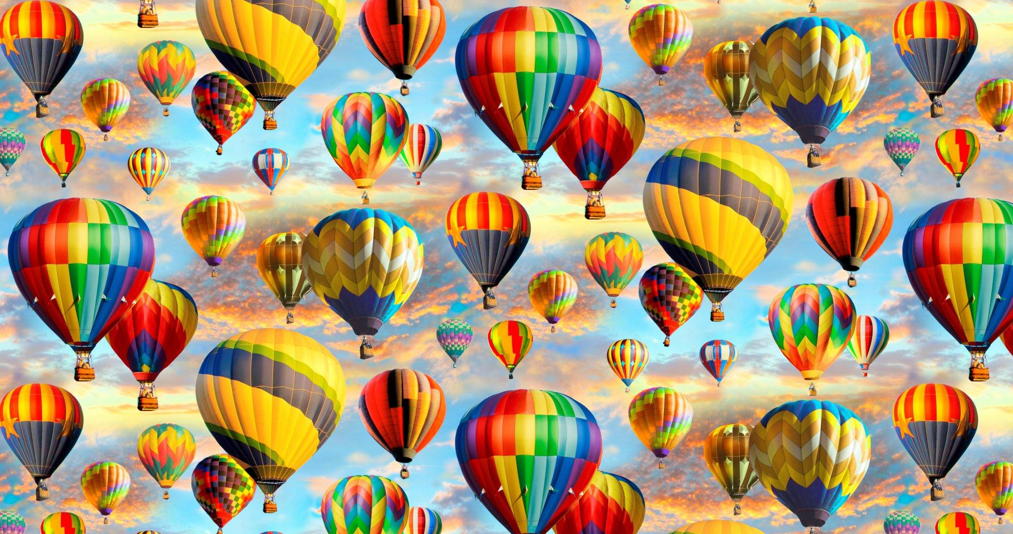 SPECIALTY FABRICS:   Hot Air Balloon Allover:  Colorful Sky by Greg Giordana for David Textiles