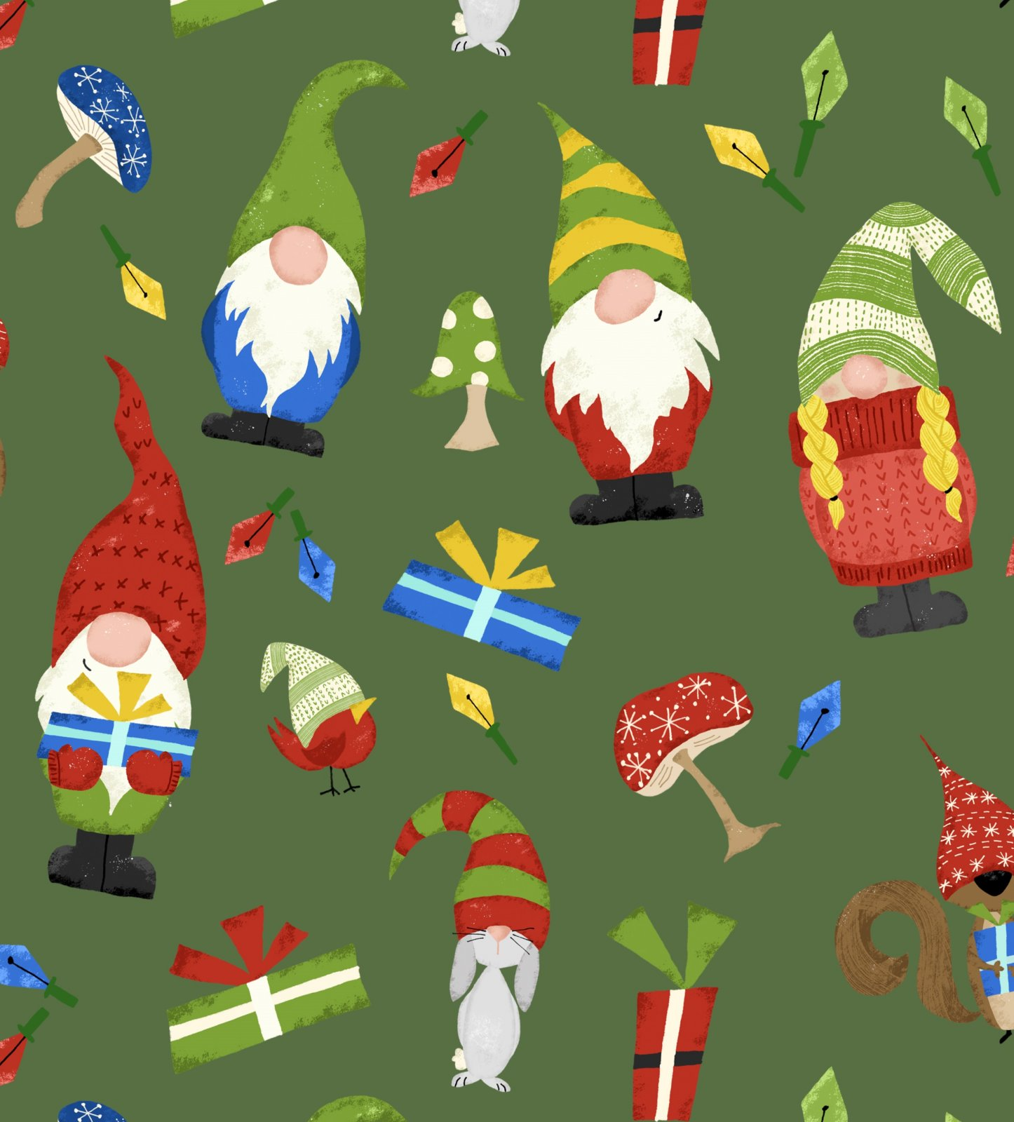 Gnomes and Presents on Green by Deane Beesley for David Textiles