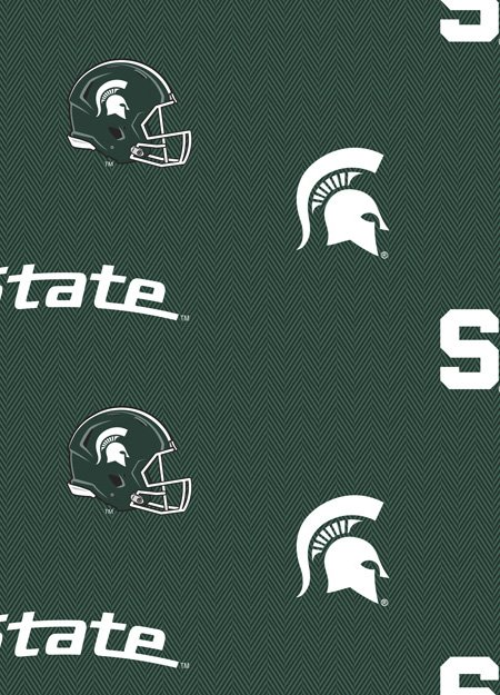 Licensed:  Michigan State University Spartans Sports Icons on Green Herringbone: Team Shop - College Cotton by Sykel Enterprises