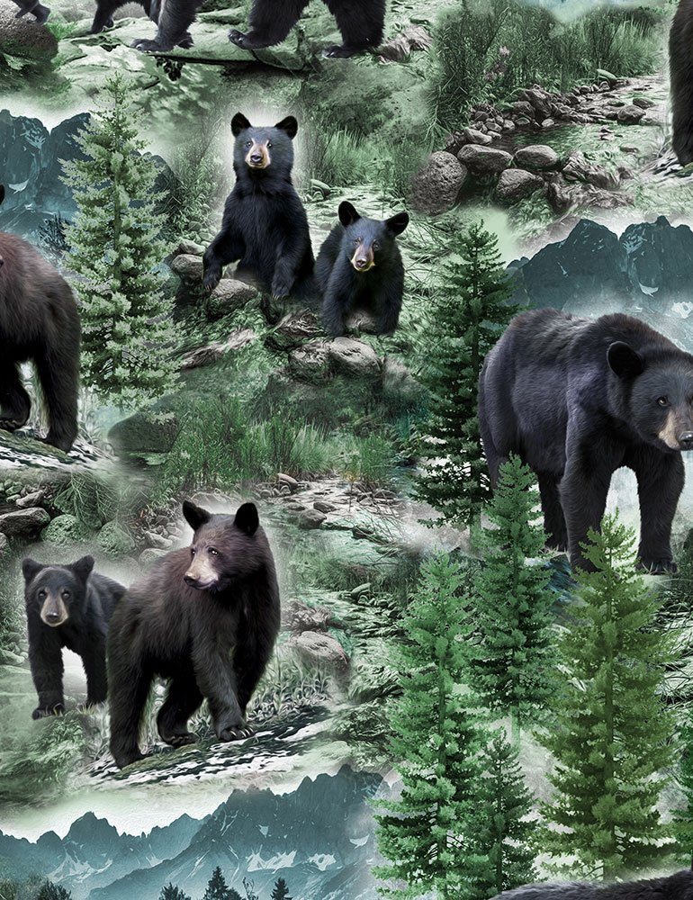 Wild Black Bears - Digitally Printed multi