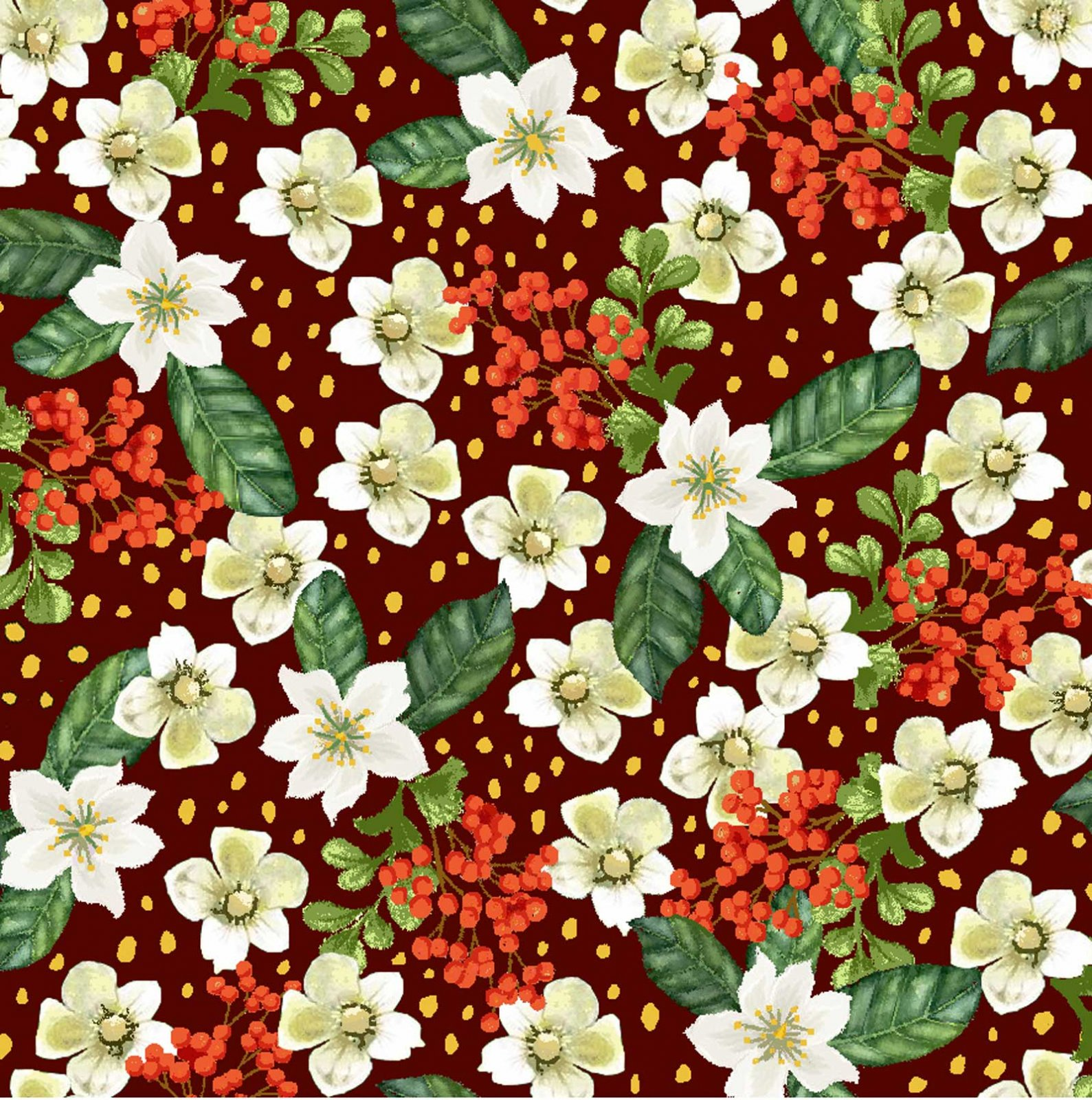 Small White and Red Flowers with Metallic Accents on Red:  Noel for Oasis Fabrics