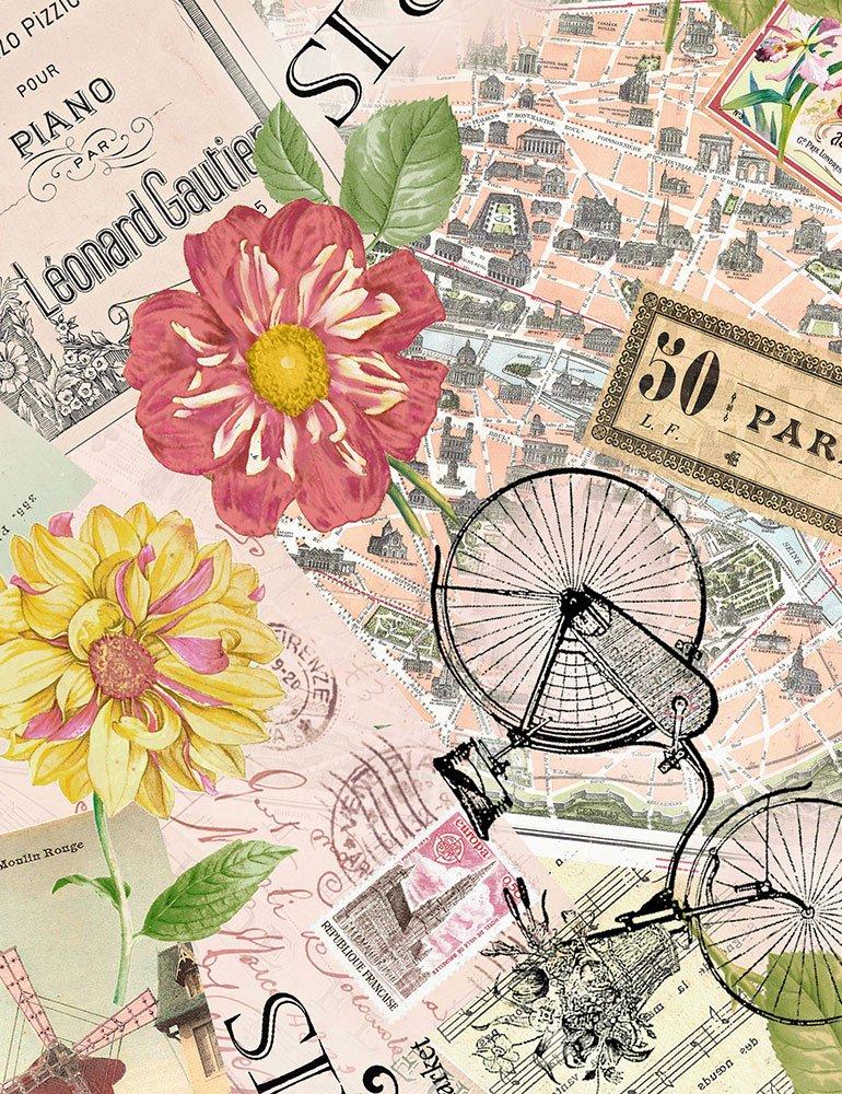 Paris C6528 Multi - Paris Postcards & Sunflowers