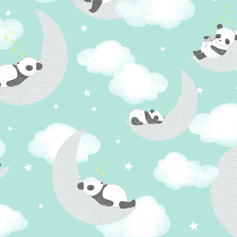 Panda Heads Mint Flannel