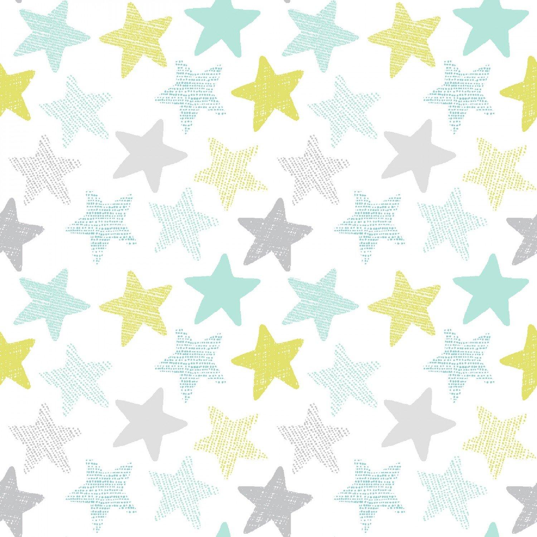 Wide Awake Flannel F1152 Stars - White