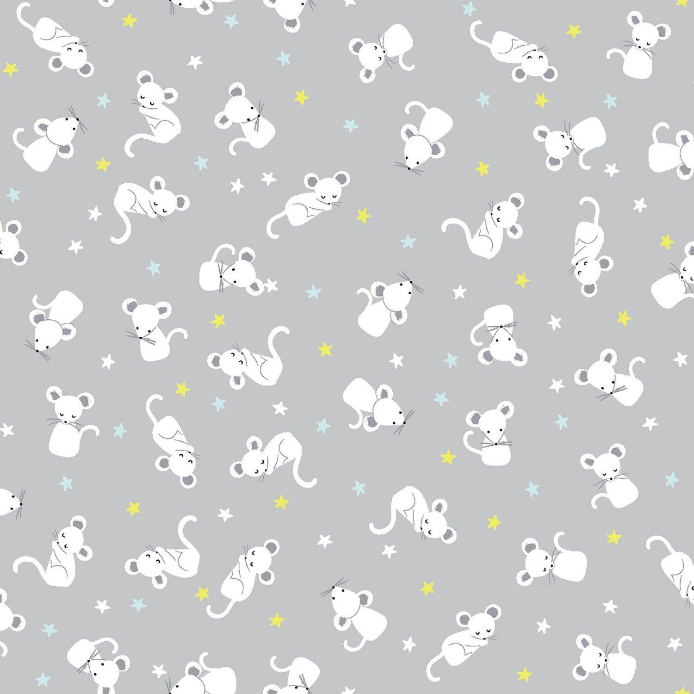 Wide Awake Flannel F1153 Sleepy Mice - Lunar