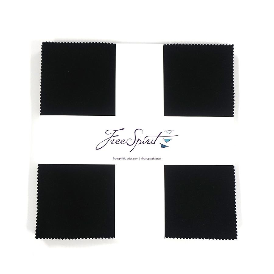 Designer Essentials Solids - Black - 10 X10 Layer Cake 42 pieces