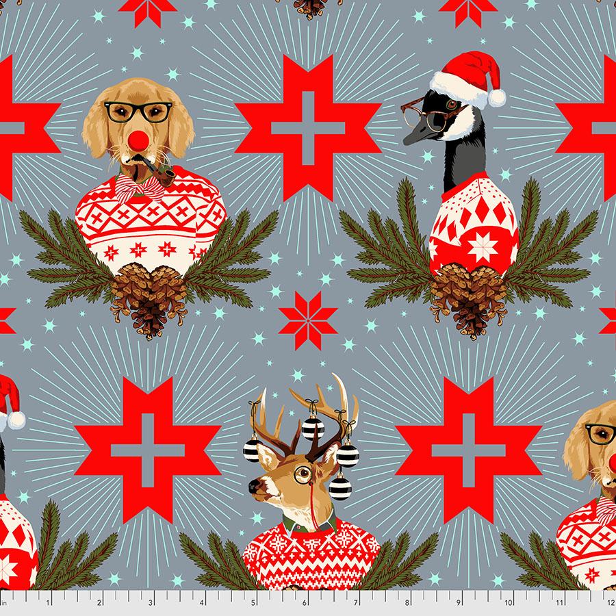 Buck, Buck, Goose - Blue Spruce - Tula Pink - Holiday Homies FLANNEL FNTP001.BLUESPRUC