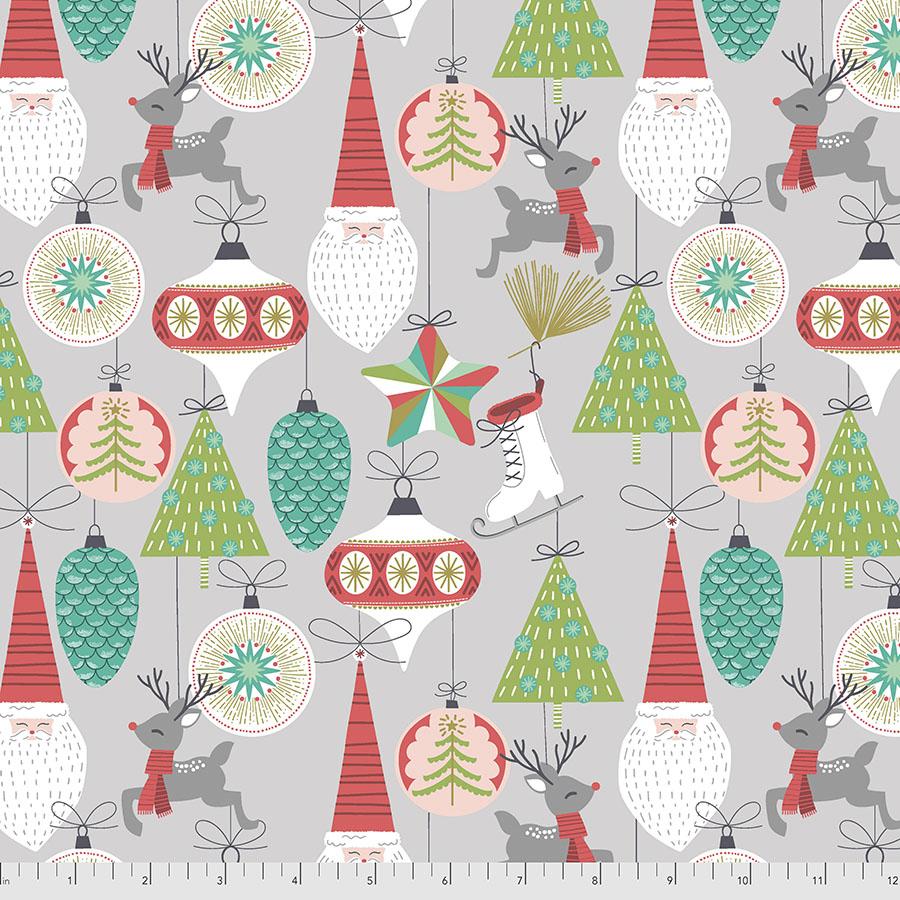 Bells & Baubles - Grey - Fa La La by Maude Asbury for Free Spirit Fabrics
