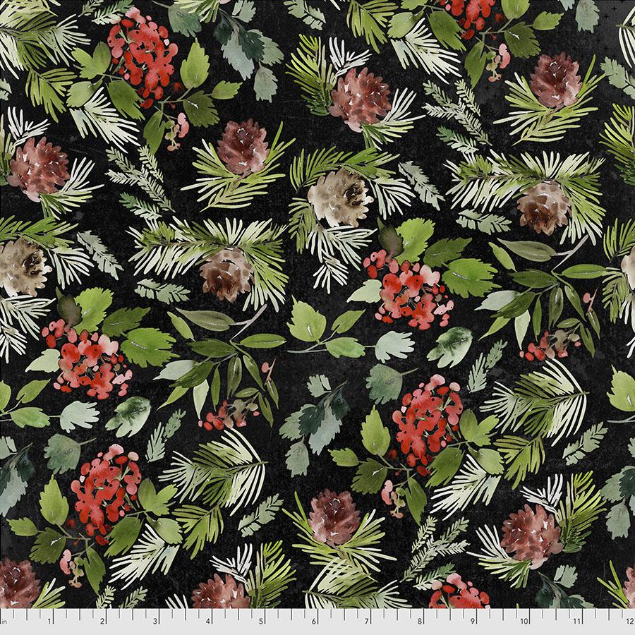 Christmastime Evergreen Floral - Black PWTH162.BLACK