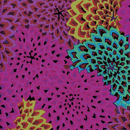 Dahlia Blooms in Purple - Kaffe Fassett Collective by FreeSpirit Fabrics