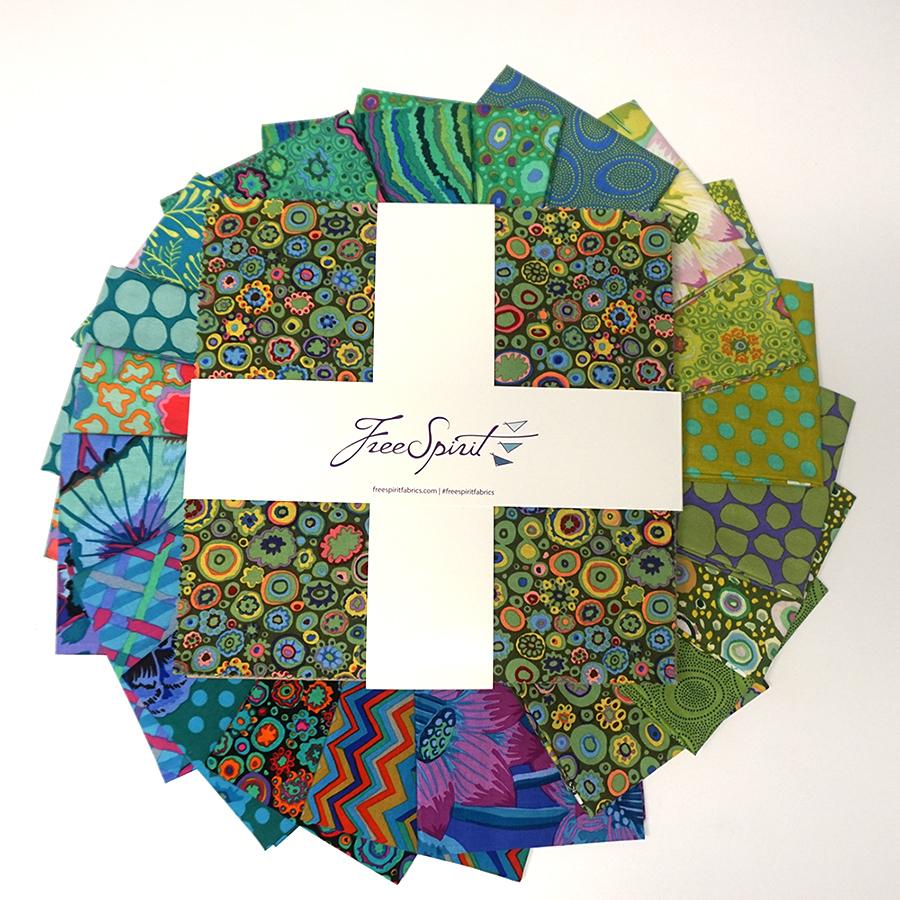 Kaffe Fasset Island Collection - 10 Pre Cut Bundle Pack, Cold - by Kaffe Fasset Collective for Free Spirit Fabrics
