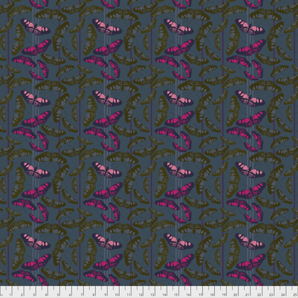 Olive and Pink Butterflies on Gray:  Passionflower - Migration by Anna Maria Horner for FreeSpirit Fabrics