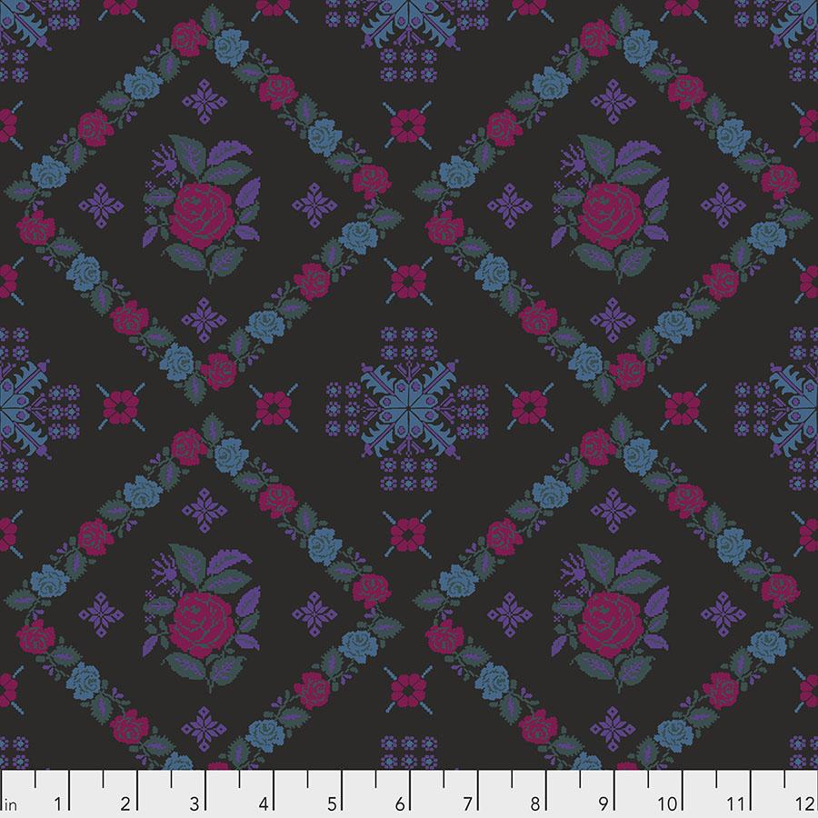 Rose Blocks in Magenta, Purple, and Blue on Black:  Tambourine - Cornered by Anna Maria Horner for FreeSpirit Fabrics